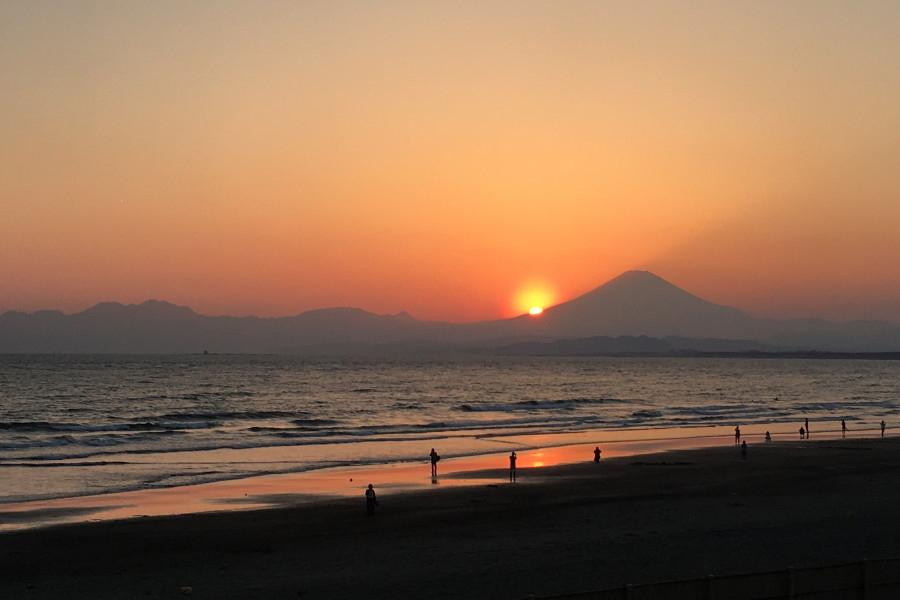 夕日スポット①片瀬江ノ島西浜海岸